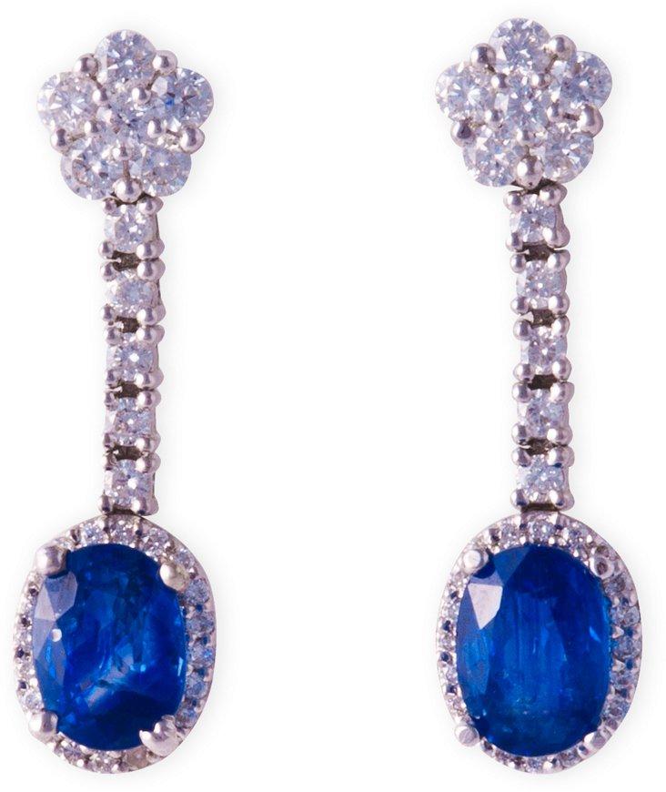 Diamond & Sapphire Dangle Earrings