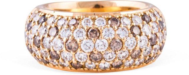 Pavé White & Brown Diamond Ring