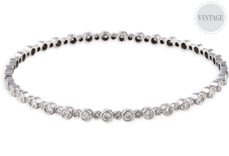 White Gold & Bezel-Set Diamond Bangle