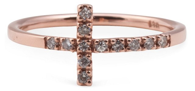 Rose Gold & Diamond Cross Ring