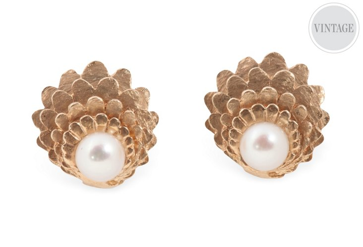 Scalloped Yellow Gold & Pearl Earrings