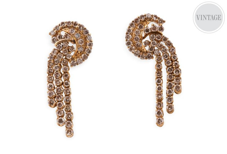 Gold & Brown Diamond Tassel Earrings