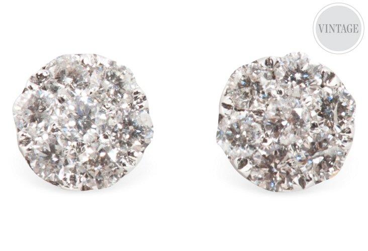 White Gold & Diamond Cluster Earrings