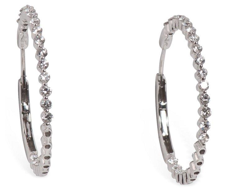 Bead-Set Diamond Hoops