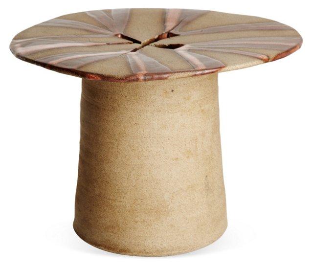 Footed Stoneware Studio Vase