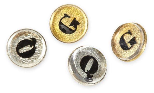 Antique Bridle Buttons, Set of 4