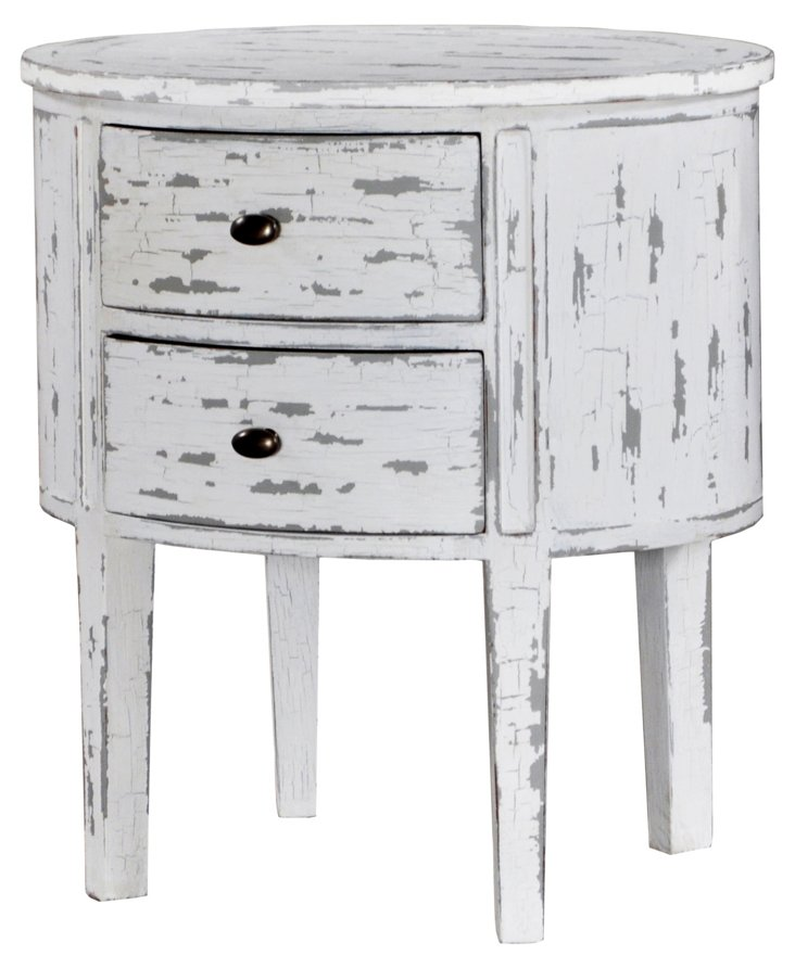 Lucia Bedside Cabinet, Weathered White