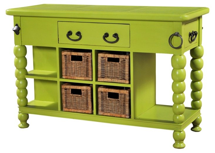 Bubble Kitchen Island, Lime Green