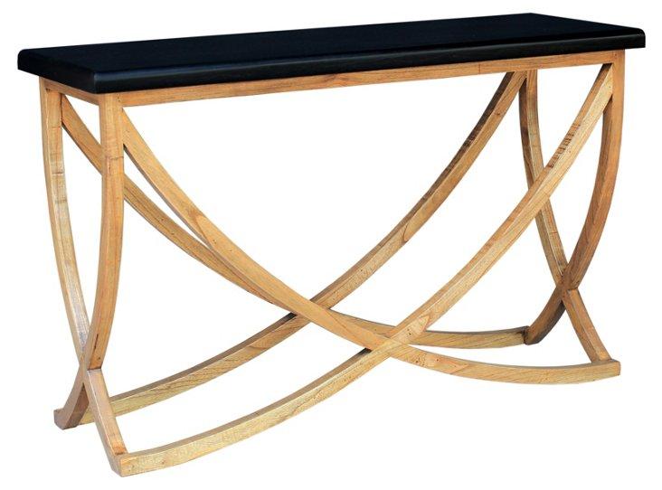 Charles Console Table, Black/Oak