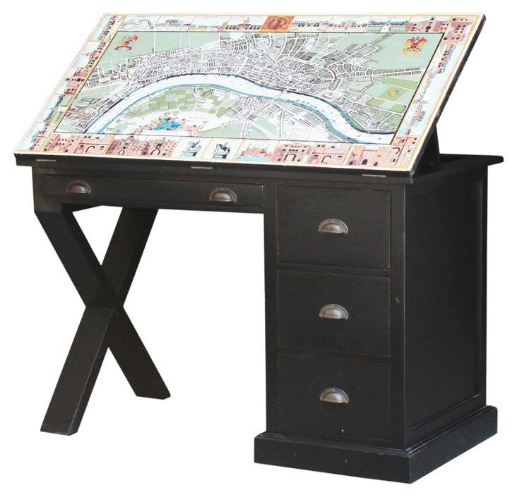 Cartographer's Desk, Weathered Black