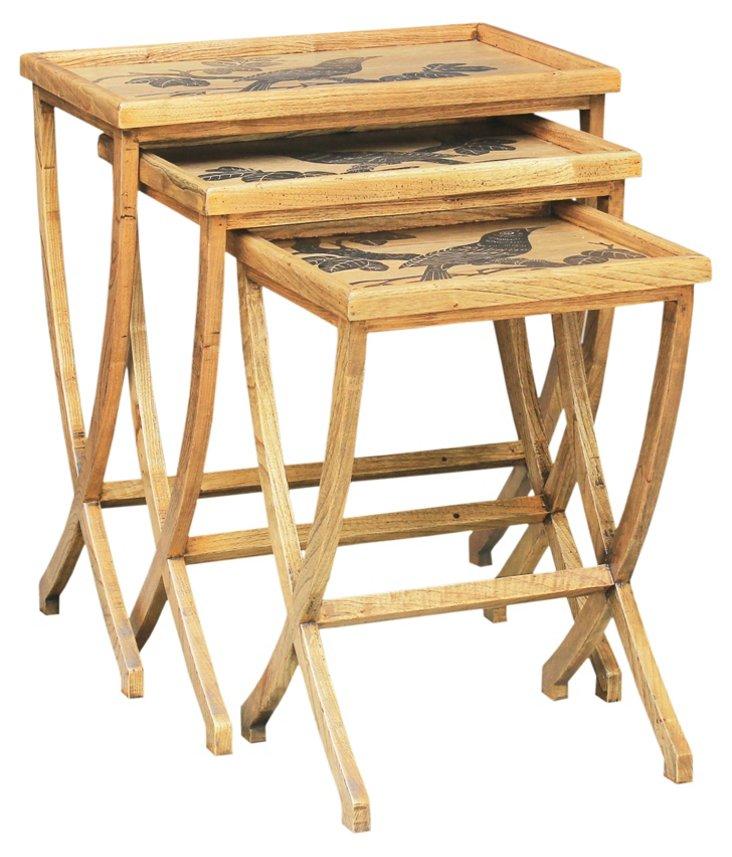 Oak Wishbone Nesting Tables, Set of 3