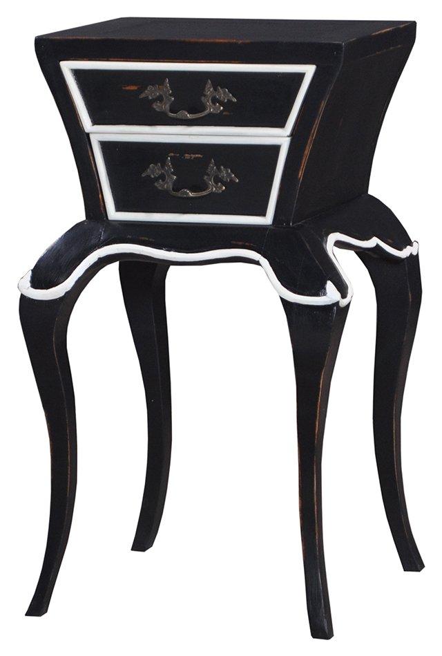Calla Nightstand, Black/White