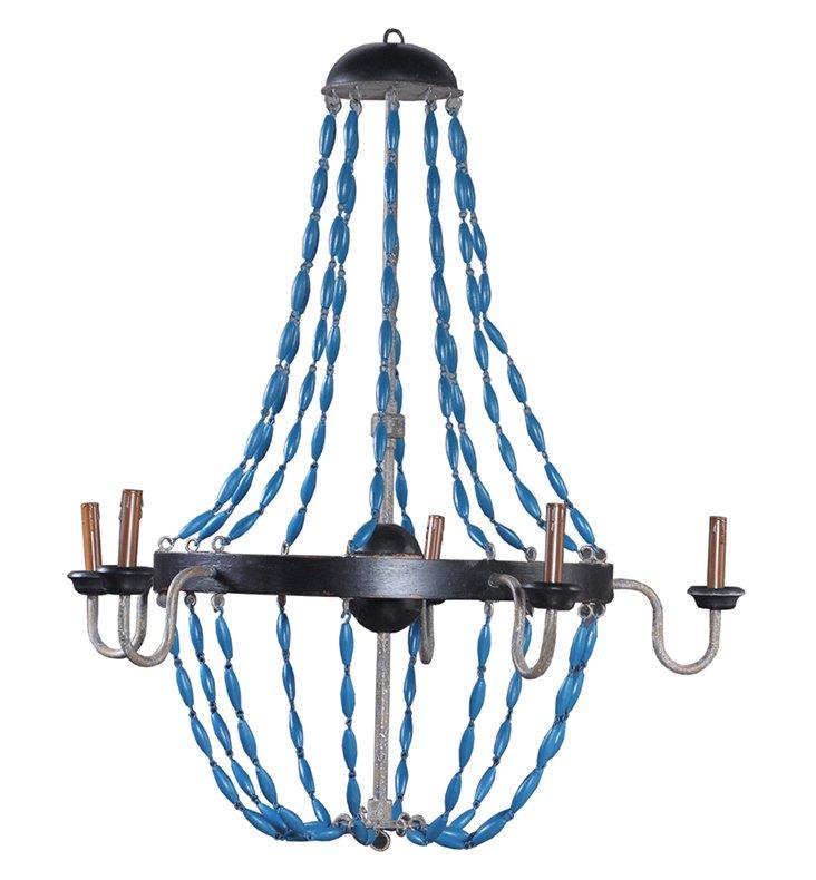 Earl 5-Light Chandelier, Blue/Silver