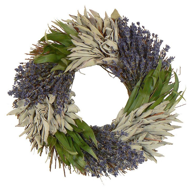 "15"" Sage Beauty Wreath, Dried"