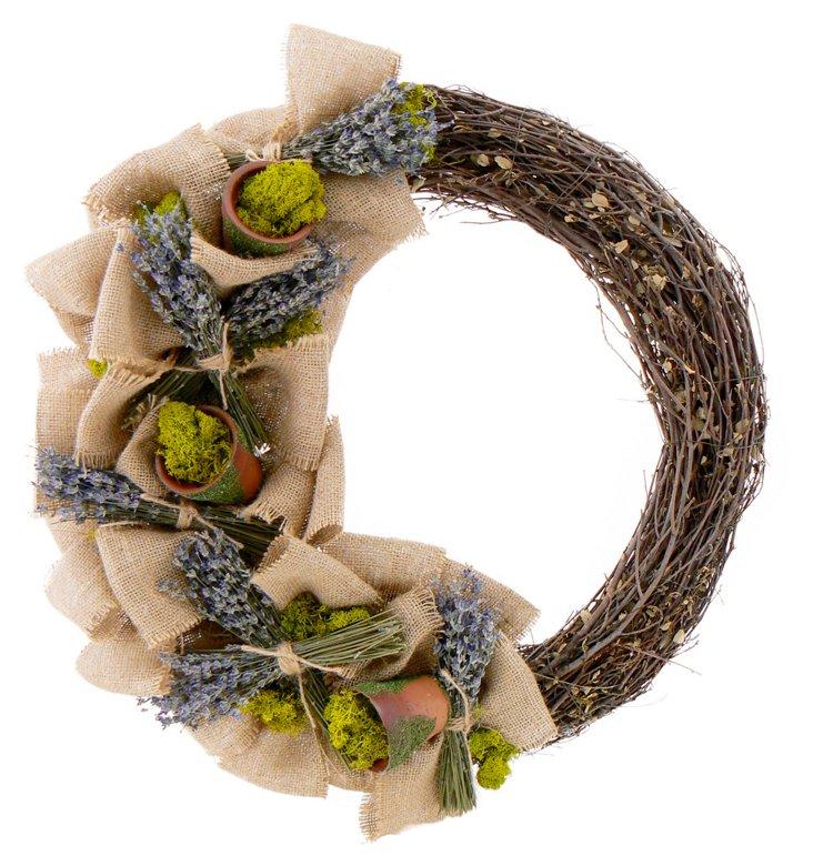 """20"""" Lavender Potting Shed Wreath"""