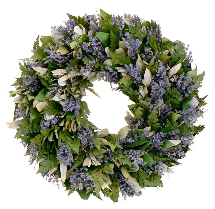 "18"" Lavender Garden Wreath, Dried"