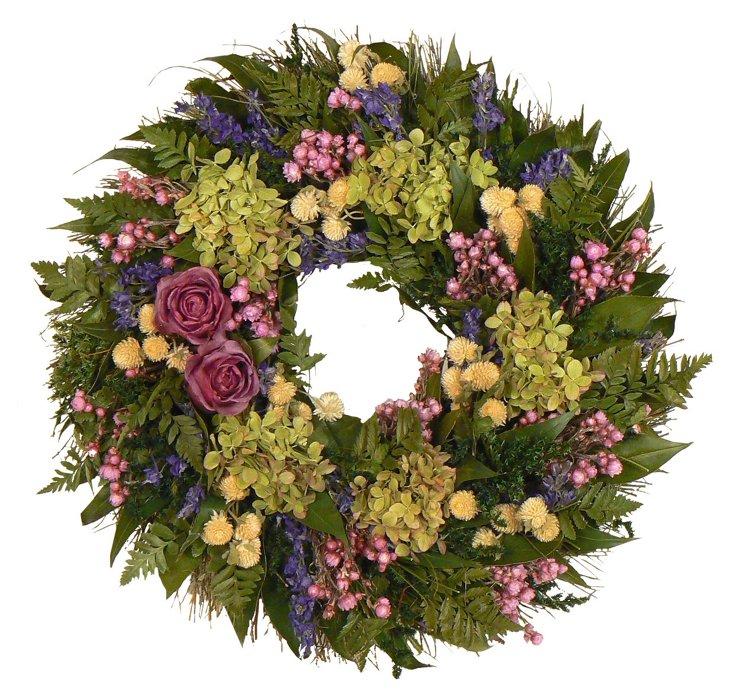 "16"" Rose & Hydrangea Wreath"