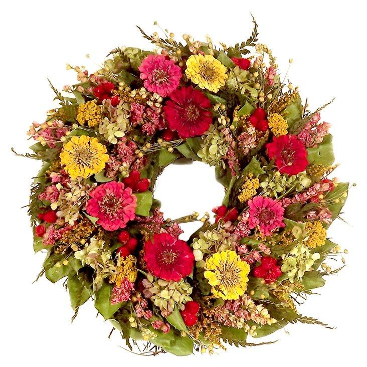 """18"""" Zinnia Garden Wreath"""