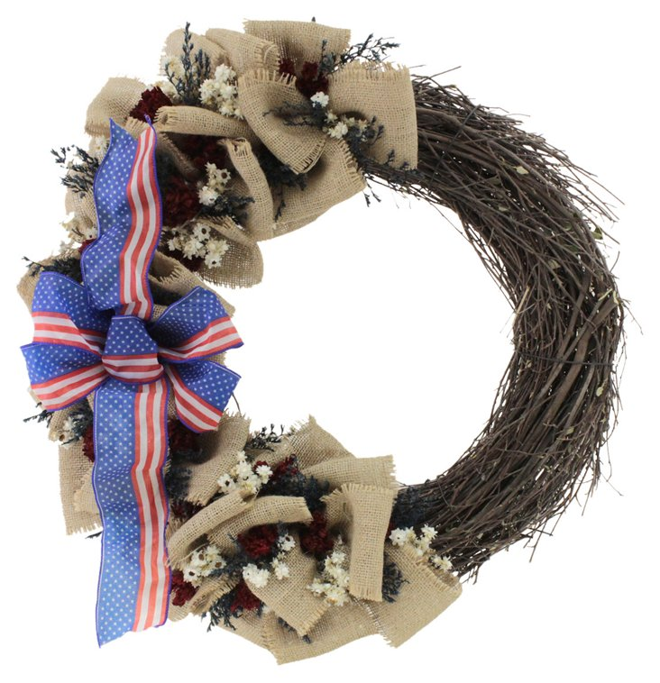 "22"" Stripes of Glory Wreath"