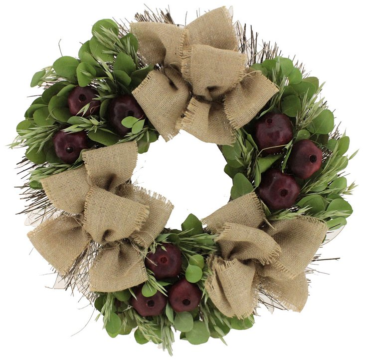 "22"" Pomegranates & Avena Wreath, Dried"