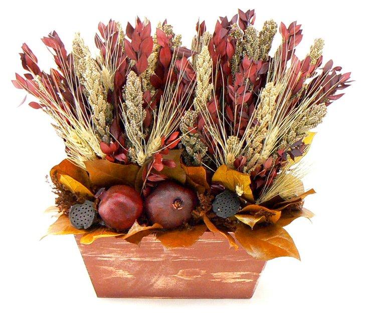 "16"" Wheat & Pomegranates Table Topper"