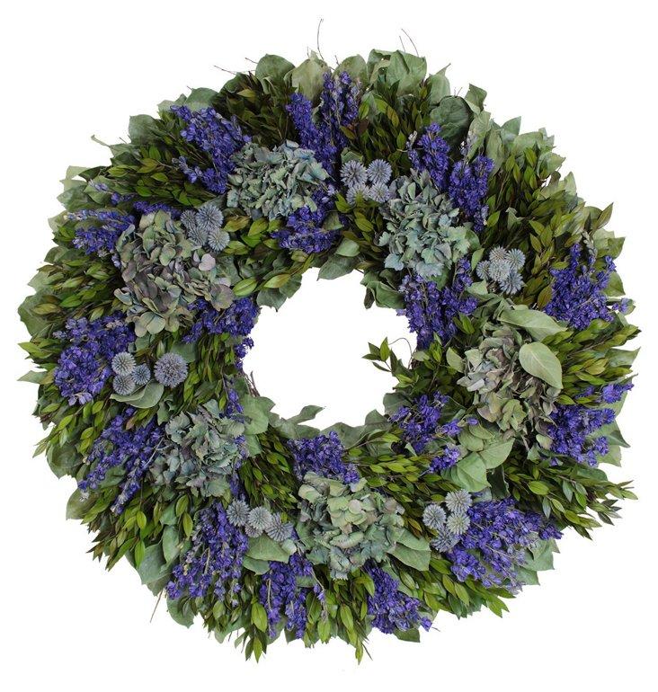 30'' Echinops & Larkspur Wreath, Dried