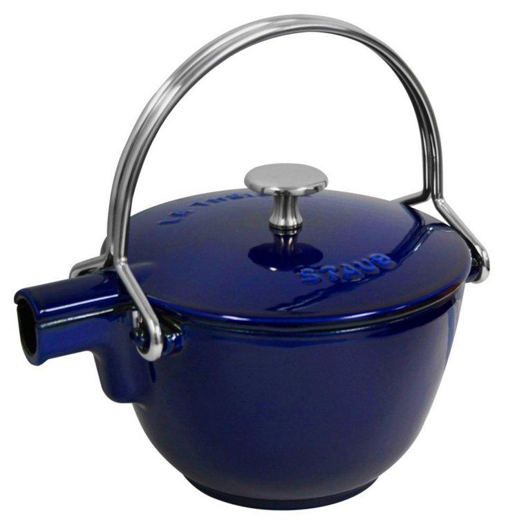 1 Qt Round Teapot, Blue