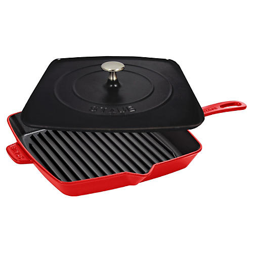 Square Grill Pan & Press Set, Cherry