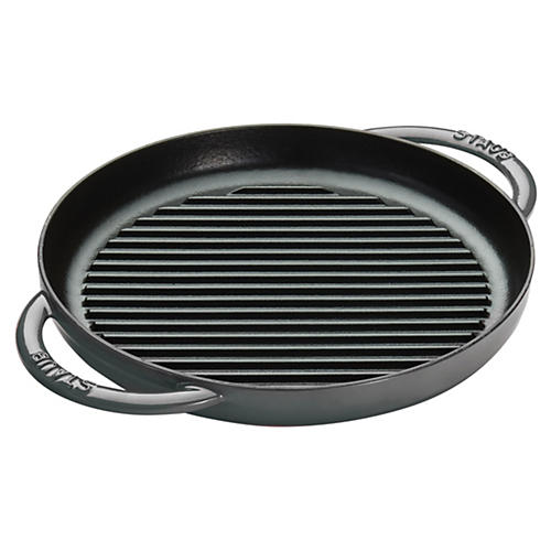 "10"" Round Double Handle Pure Grill, Gray"