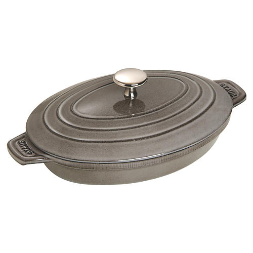 Oval Covered Baking Dish, Gray