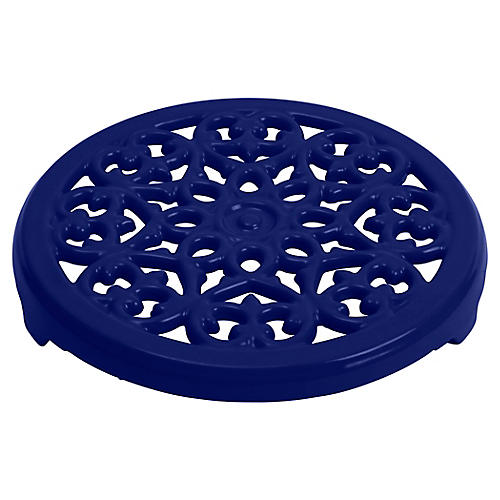 "9"" Cast Iron Lilly Trivet, Dark Blue"