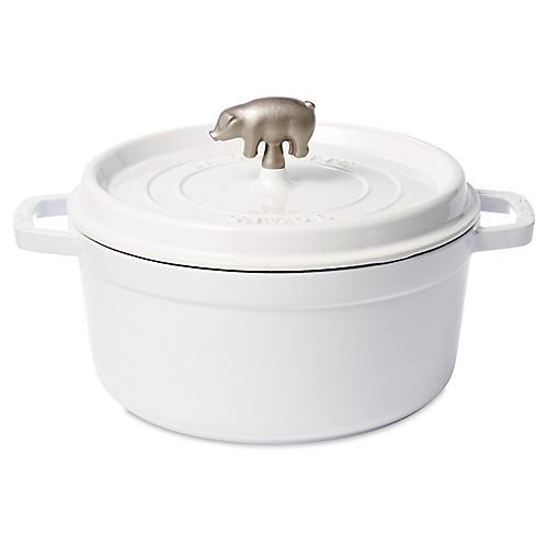 5.5 qt Porc Cocotte, White