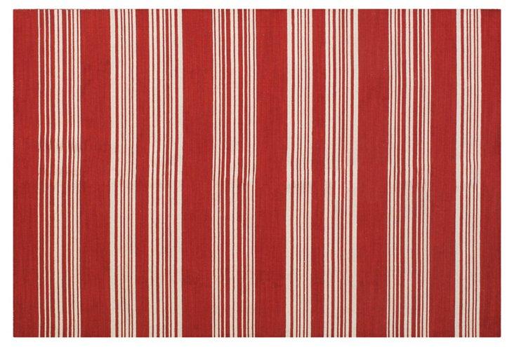 Dakota Flat-Weave Rug, Red/Ivory