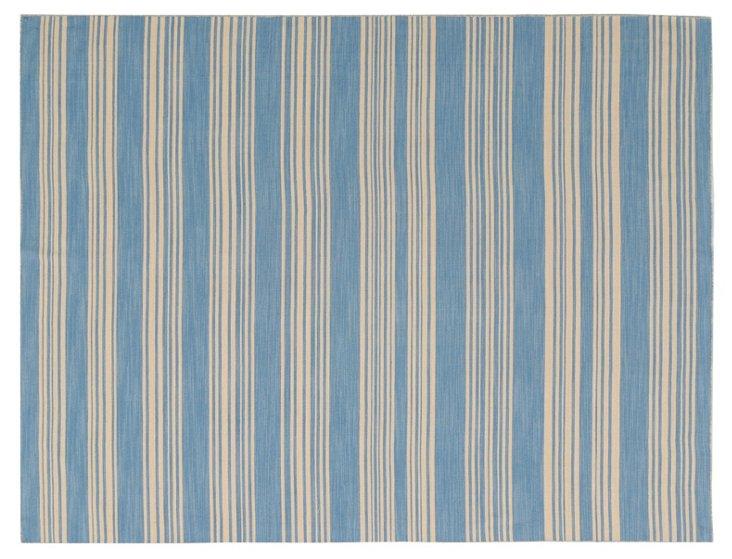 Florence Flat-Weave Rug, Beige/Blue