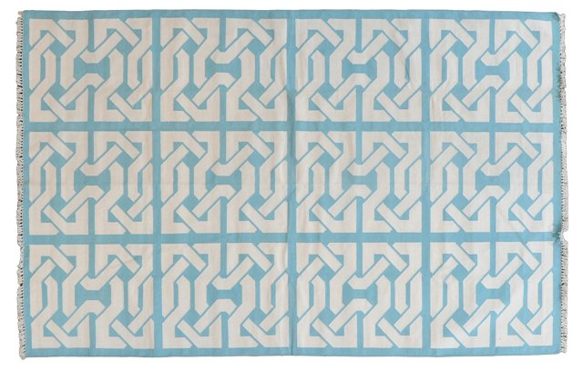 5'x8' Byrum Flat-Weave Rug, Aqua/White