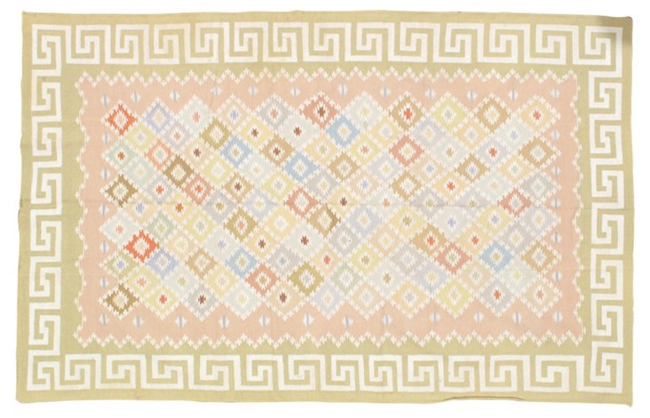 6'x9' Azrael Flat-Weave Rug, Pink/Sky