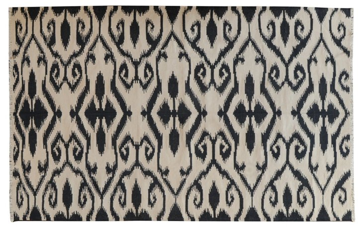 5'x8' Chili Flat-Weave Rug, Ivory/Black