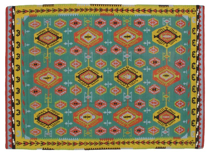 8'x12' Basile Flat-Weave Rug, Emerald