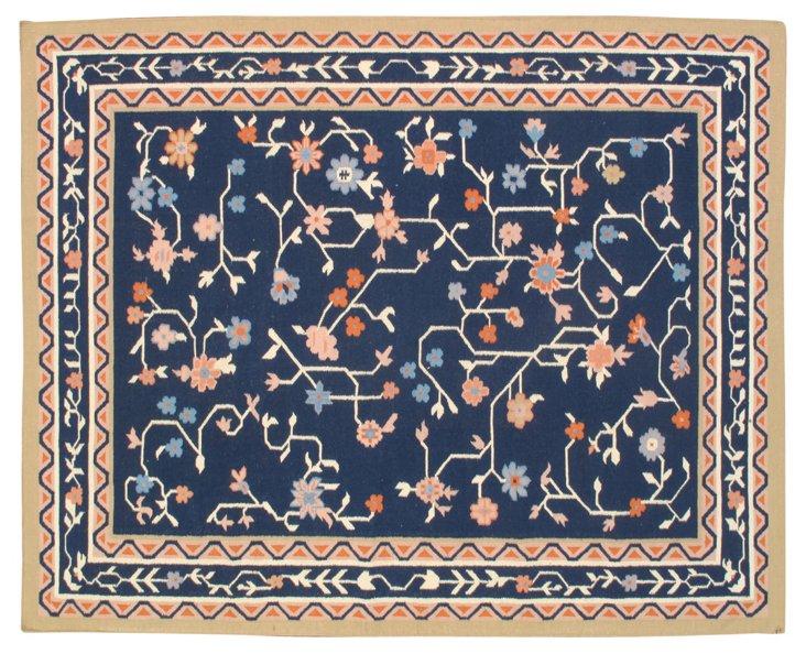 9'x12' Blaise Flat-Weave Rug, Navy/Tan
