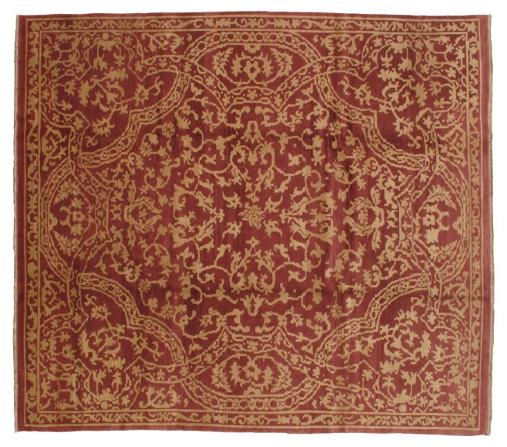 """9'3""""x11'5"""" Wabansia Rug, Red/Gold"""