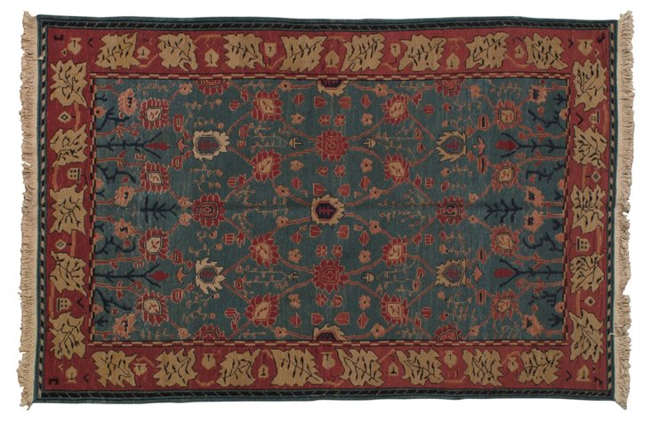"5'3""x8' Belmont Rug, Teal/Red/Multi"