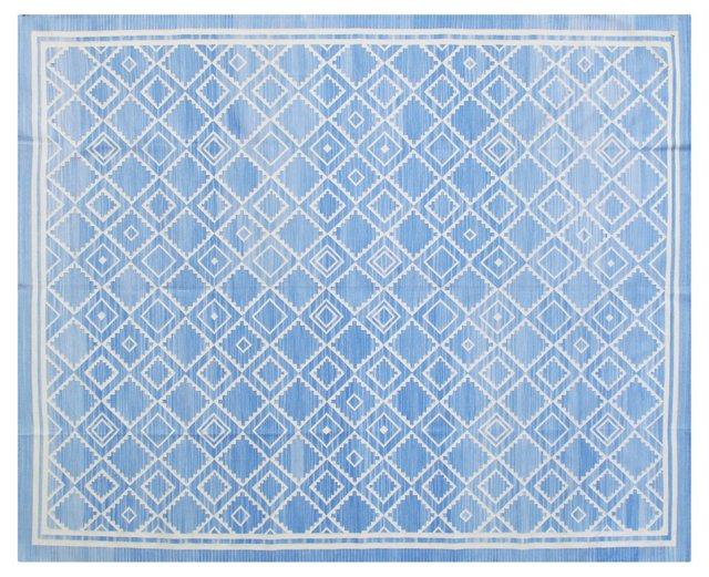 Annali Flat-Weave Rug, Light Blue/Ivory