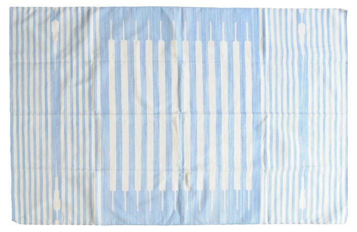 Leli Flat-Weave Rug, Sky/Ivory