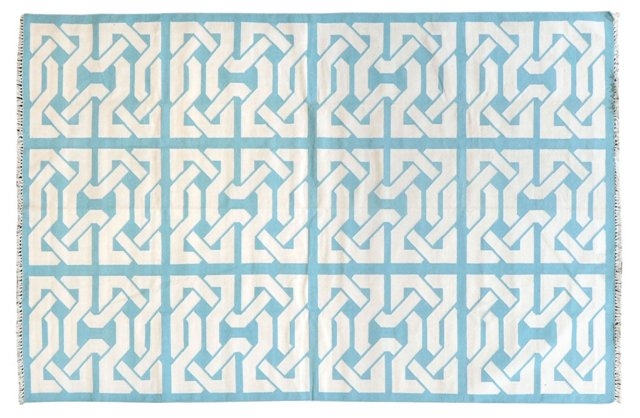 Byrum Flat-Weave Rug, Light Blue/White