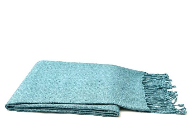 Solid Silk Throw, Blue