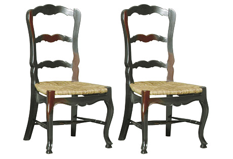 Ebony Wilkes Side Chairs, Pair