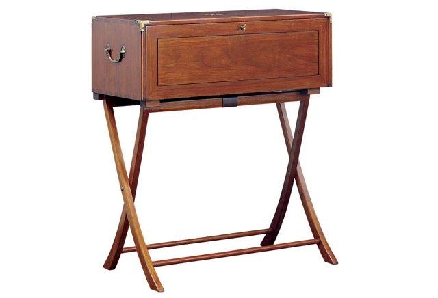 Indochine Leather Secretary Desk, Russet