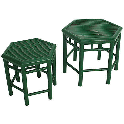 Outdoor accent tables chairs one kings lane asst of 2 onesta nesting tables green watchthetrailerfo