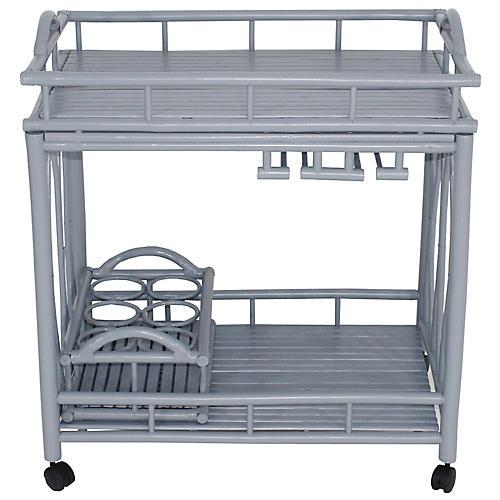 Bamboo Bar Cart, Light Gray