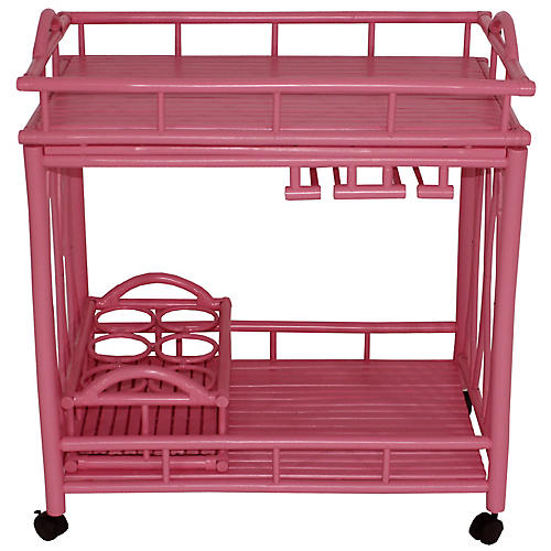 Bamboo Bar Cart, Pink